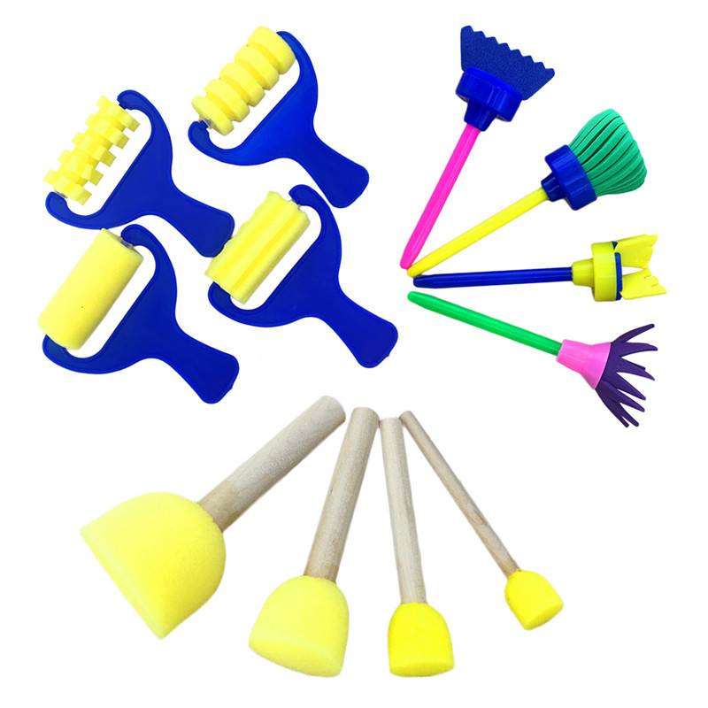 3Pcs/set DIY Flower Graffiti Sponge Art Supplies Brushes Seal Painting Tools Creative Funny Drawing Toy for Children