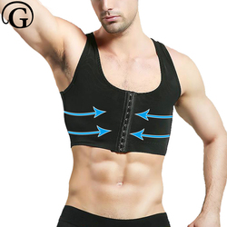 مصحح الوضعية التثدي المشكل PRAYGER الرجال التخسيس الصدر مشد ضغط محدد شكل الجسم بلا أكمام قصيرة
