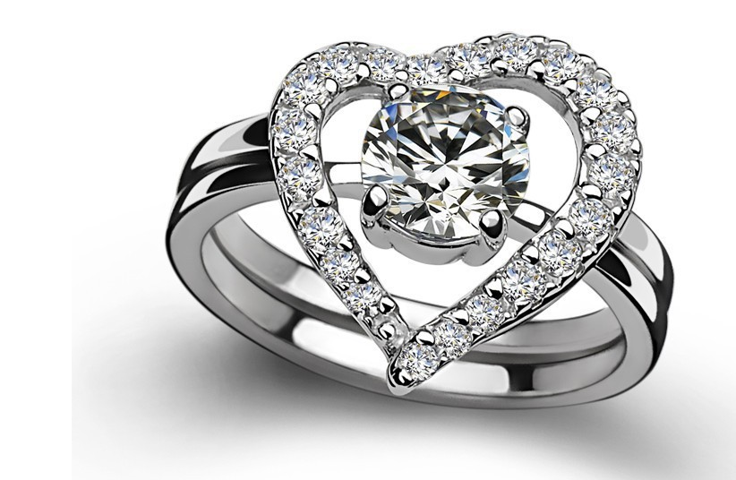 Amazing Two Rings Combine Pure White Gold 18K Female Heart Shape