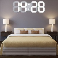 Charminer White Large 3D Acrylic Digital LED Skeleton Wall Clock Timer 24 12 Hour Display Home