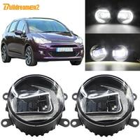Buildreamen2 Car LED Projector Fog Light + Daytime Running Light DRL White H11 Socket 12V For Citroen C3 FC_ Hatchback 2005 2010