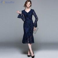ENbeautter 2018 New Spring Dress Wmen Vintage Print Lace Long Dress V-Collar Lotus Leaf Edge Crochet Hollow Out Elegant Dresses
