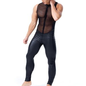 Image 4 - Men Sexy wetlook Faux Leather Catsuit PVC Latex Bodysuit Front Zipper Open Crotch Clubwear fetish hot erotic Lingerie costumes