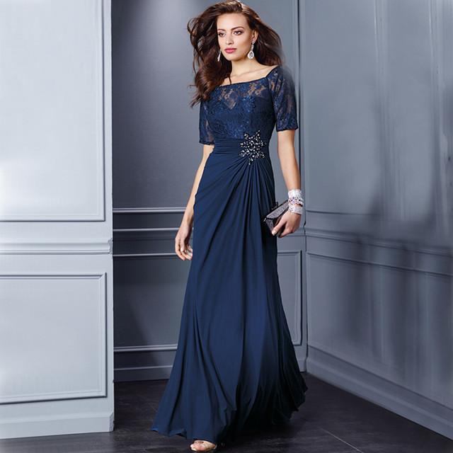 Azul marinho de Renda Mãe da Noiva Vestidos de Mangas Curtas uma linha de Rendas Frisado Formal Vestido de Noite Nupcial Do Casamento Dos Noivos vestido