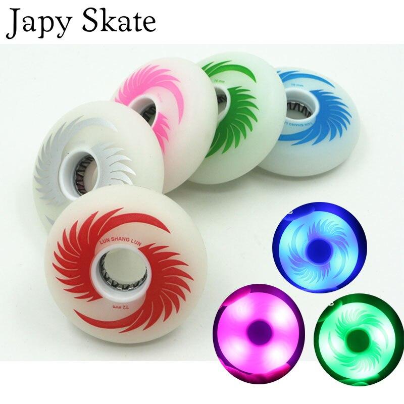 Prix pour Jus japy Skate Éclairage Rouleau Roues LED Flash Glissement Inline Skate Roues 88A 72 76 80 8 pièces/lot Slalom Roues SEBA de patinage
