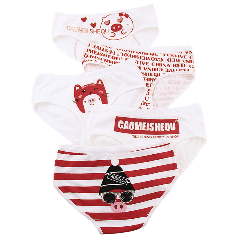 2019 New Teenage Underpants Pig Printed Young Girl Briefs Cartoon Red   Panties   Girl Cotton   Panties   Kids Underwear 8005