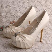 Wedopus MW554 Свадебная Обувь для Женщин Горный Хрусталь Платформа Насосы Обувь На Каблуках