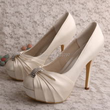 Wedopus MW554รองเท้าแต่งงานสำหรับผู้หญิงปั๊มแพลตฟอร์มRhinestoneรองเท้าที่มีส้นเท้า
