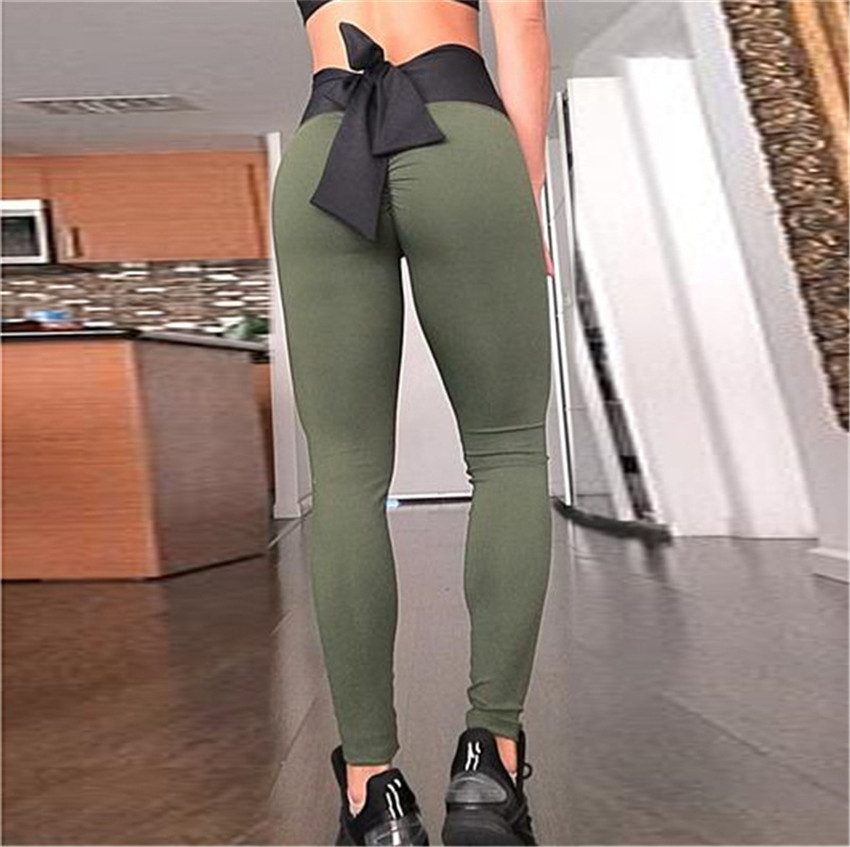 2018 New Bow Fashion Slim Slimming Women Leggings Fashion Thin Section Fitness Gyms Joggers Sportswear High Waist Leggings 3