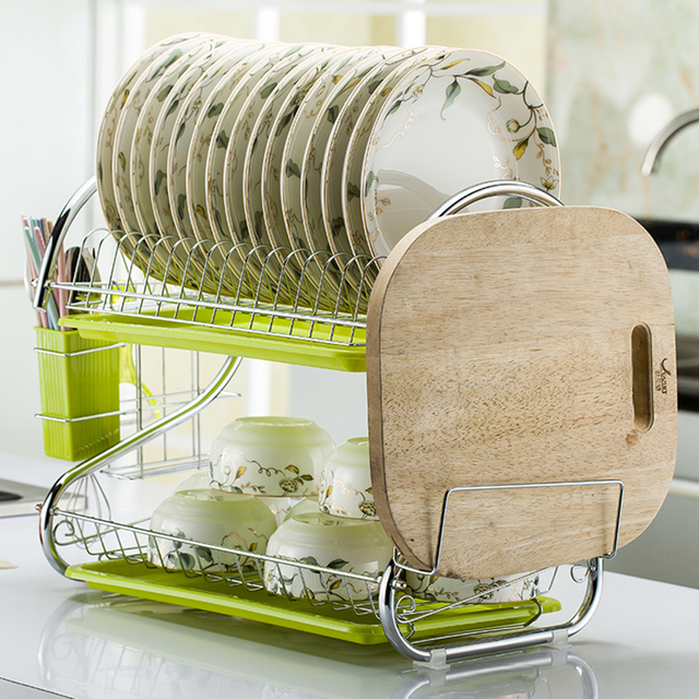 S Shaped Stainless Steel Kitchen Dish Rack Set 2 Tier Dish Cutlery