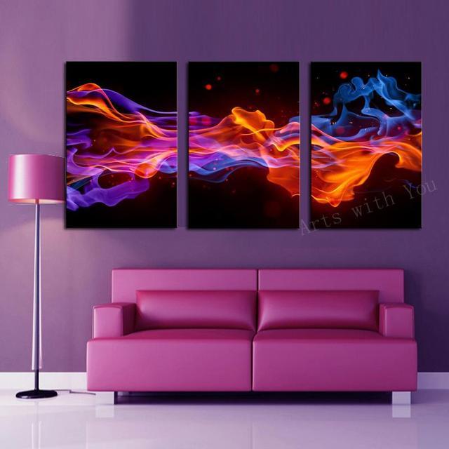 3 Panels Fire Flower HD Canvas Print Painting Artwork Modern Home