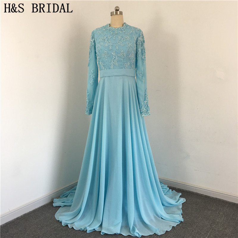Blue Elegant O Neck Chiffon Back With Buttons Draped Beaded Cover Front And Back Muslim Lace   bridesmaid     dresses   long