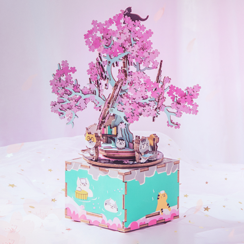 DIY Wooden Music Box Cherry Blossom Tree 3D Wooden Puzzle Assembly Model Building Kits Toys For Girls Birthdays Gift AM409