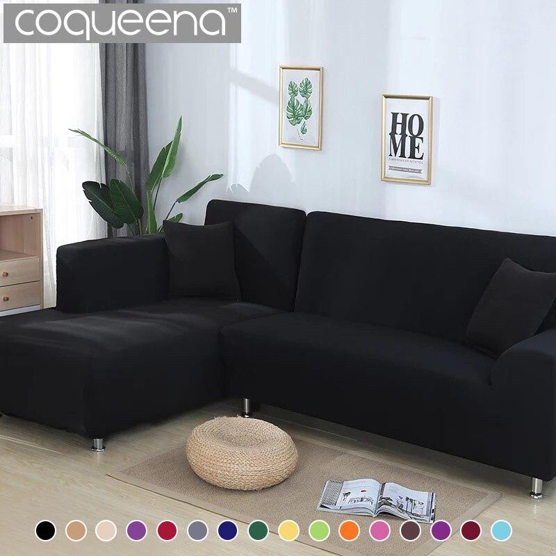 2 шт. Чехлы для угловой диван Гостиная Универсальный эластичные l-образный диван-крышка шезлонг покрывает сплошной Цвет