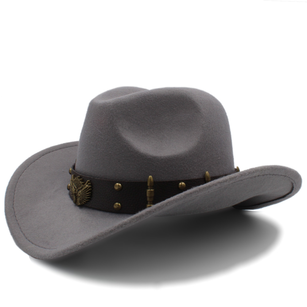 Wome Men Black Wool Chapeu Western Cowboy Hat Gentleman Jazz Sombrero Hombre Cap Elegant Lady Cowgirl Hats Size 56-58CM