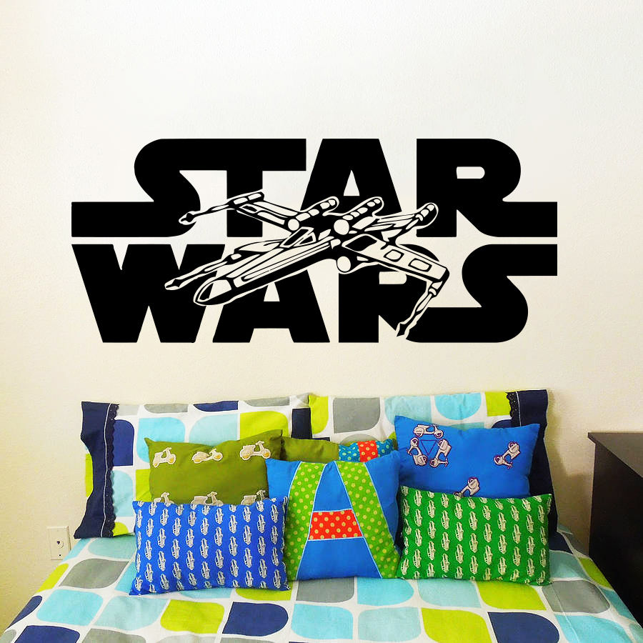 Star Wars Wall Decals Nursery Vinyl Sticker Kids Room Decal XWing Fighter