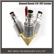 3D V6 long distance heatsink Brass Color Nozzle 3 IN 1 OUT 0.4mm For 1.75mm Multi Nozzle for 3D printer
