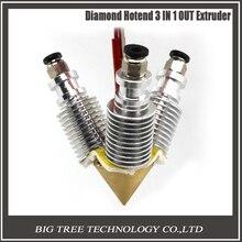 3D V6 disipador de larga distancia de Latón Boquilla de Color 3 EN 1 HACIA FUERA 0.4mm Para 1.75mm Boquilla Múltiple para impresora 3D