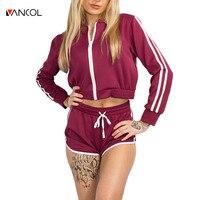 Vancol Zipper Fly 2 Piece Set Women Tracksuit Fashion Long Sleeve Short Two Piece Set 2017 Stand up Collar Women Suit Set Shorts