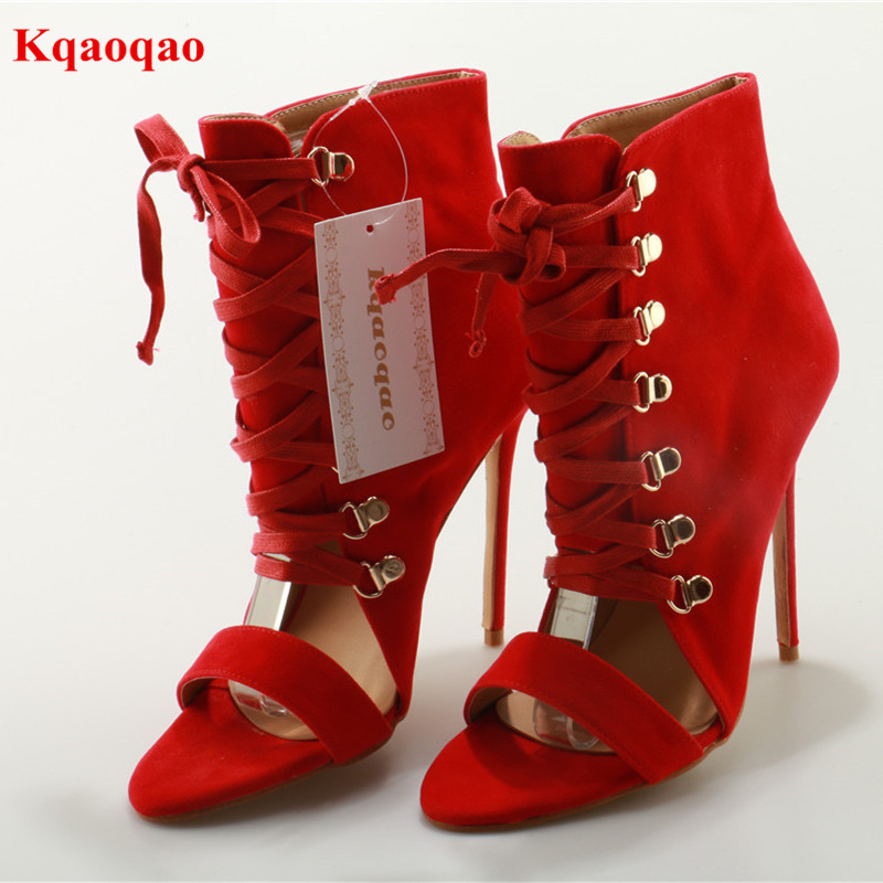 Red Open Toe Cross-tied Women Sandals Flock Lace Up Thin High Heel Party Walkway Stage Shoes Solid Gladiator Sandalias Femeninas newly arrival crystal embellished zip cover heel open toe women sandals solid black women rome casual walkway gladiator shoes