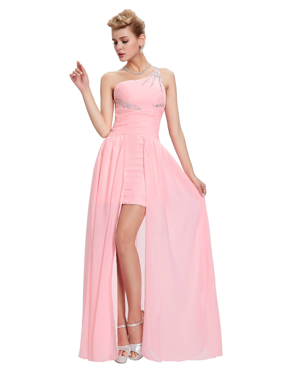 Light Pink Bridesmaid Dresses Grace Karin Beaded Chiffon One Shoulder Formal Gowns Short Front Long Back Wedding Party Dresses 9