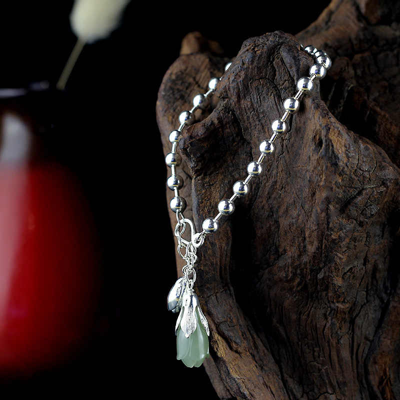 2018 Elegant Ngọc Tự Nhiên 100% 925 Sterling Silver Silver Charm Bracelets Cho Phụ Nữ Cô Gái Tulip Flower Bracelet Trang Sức Quà Tặng Cho Phụ Nữ