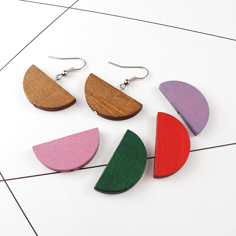 Charms Jewelry-Supplies Beads Wood 20pcs Prism Geometric DIY Semi-Moon