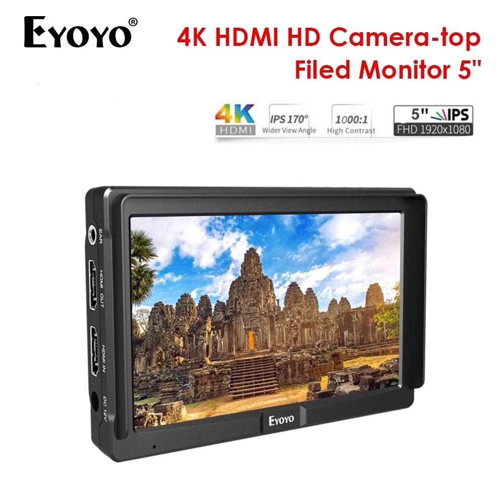 Eyoyo 5inch Utra Slim IPS Full HD 1920x1080 4K HDMI On-camera Video Field Monitor for DSLR Camera VideoEyoyo 5inch Utra Slim IPS Full HD 1920x1080 4K HDMI On-camera Video Field Monitor for DSLR Camera Video