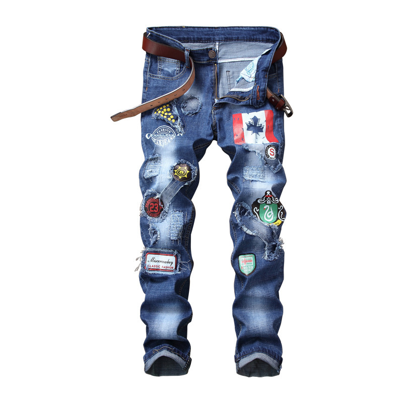 2018 New Men Jeans Patchwork Embroidery Spliced Ripped Denim Jeans Male Straight Men Clothes 2018 Silm Pants Print Jeans