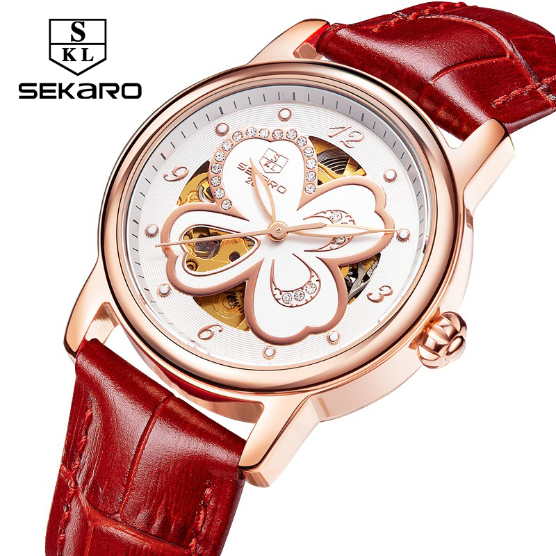 Sekaro new women's watch brand luxury automatic mechanical waterproof leisure business four-leaf clover lucky gift of women pair of chic rhinestoned four leaf clover shape earrings for women