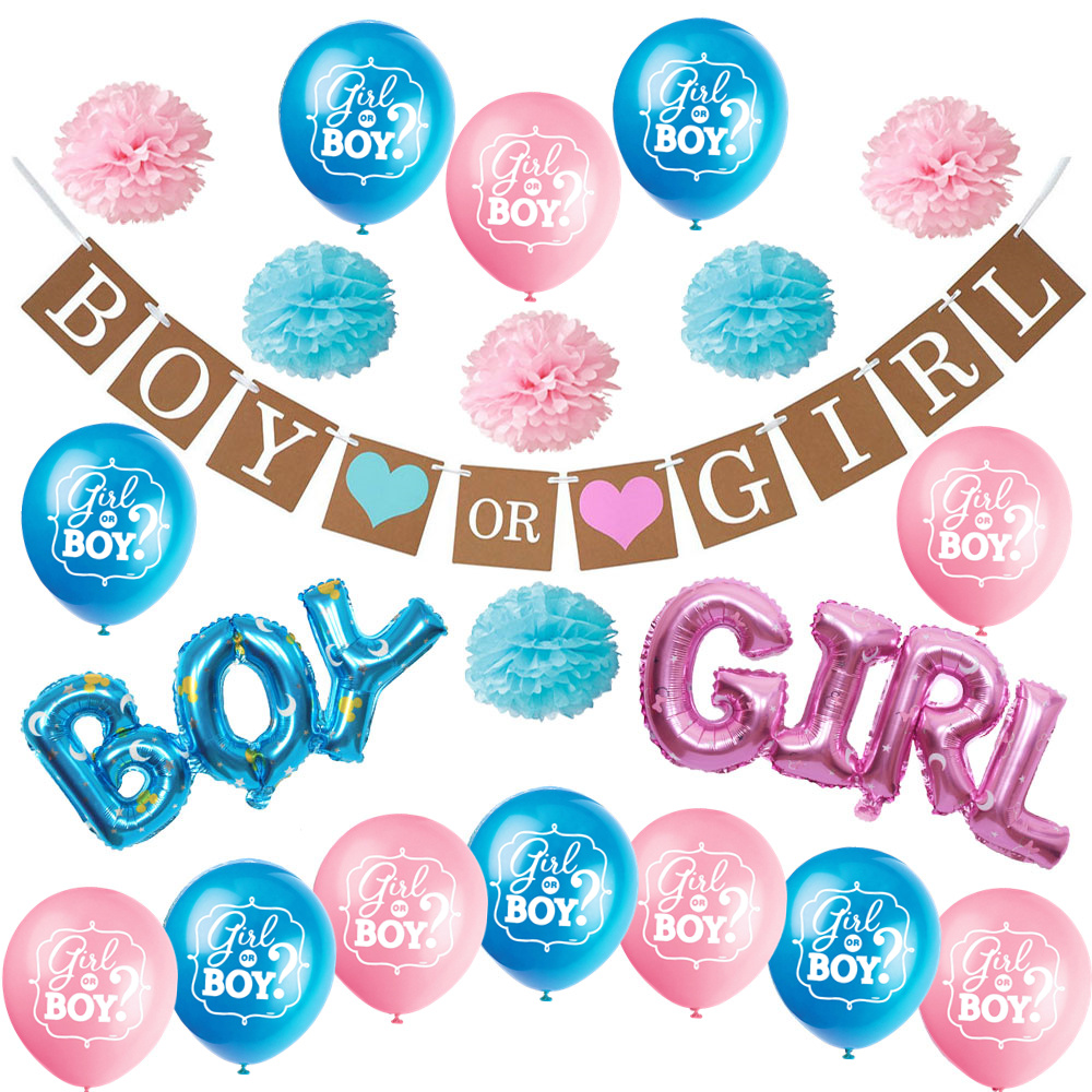 Us 15 19 20 Off Zljq Gender Reveal Party Supplies Kit Boy Or Girl Baby Shower Decorations Pregnancy Announcement Boy Or Girl Banner Balloons In