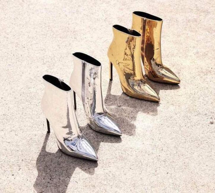 KAEVE 2018 New Gold Silvery Black/Microfiber Pointed Toe Shoes Ankle Zip Women's Shoes Thin Heels big Size 47 Women's Boot