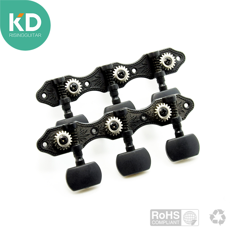 2 PC per set High end  Classical Guitar Tuning Pegs Machine Heads Black color up grade parts a set chrome sealed gear tuning pegs machine heads tuners for guitar with black big square wood texture buttons