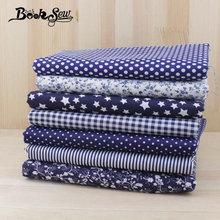 Booksew 7pcs Navy blue 50cmx50cm fat quarters Cotton Fabric for DIY Sewing Patchwork Fabrics Tilda Cloth telas tecido tulle(China)