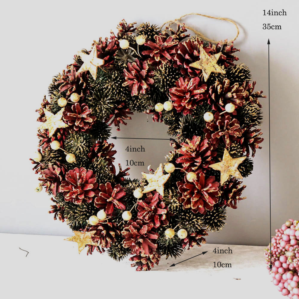 Party Xmas Craft Nature Staff Stars Decoration Christmas Wreath Window Door Wreath For Home New Year Decorations Garland Decor