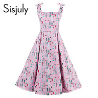 Sisjuly Vintage Dress Spaghetti Strap Pin Up Style Summer Pink Rockabilly Retro Elegant Slash Neck Bowknot