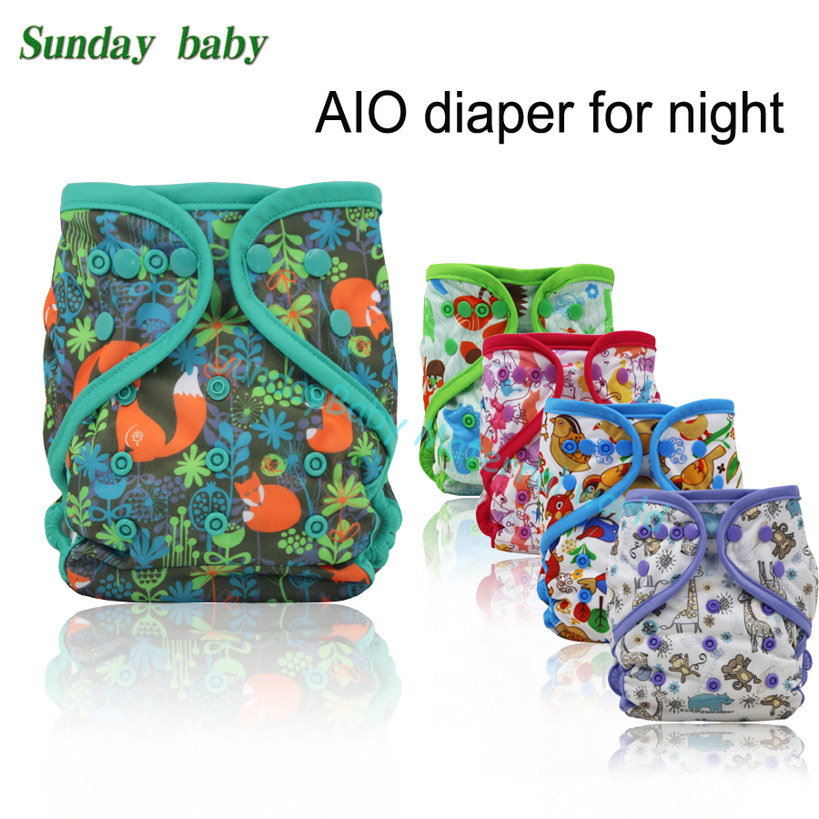 2017 New design AIO night Cloth diaper with colored piping add microfiber insert baby all in