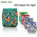 2017 Nuevo diseño de noche pañal de Tela AIO con tuberías de colores añadir inserto bebé todo en un pañal de tela de microfibra para noche