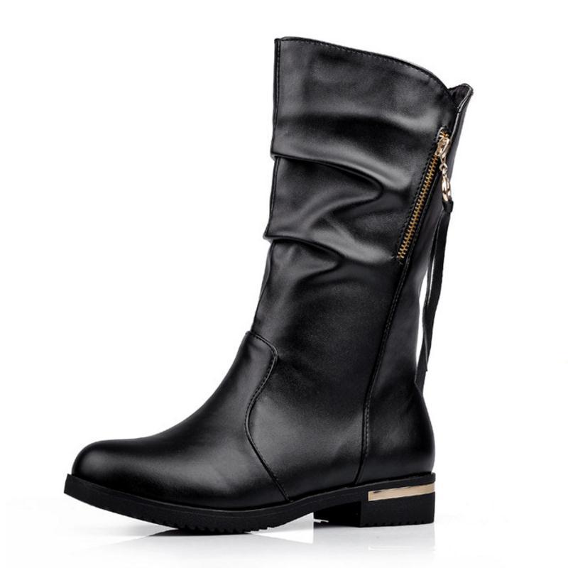 Cortos Negro Zapatos Redonda Cargadores Femeninos 42 Tamaño Lebaluka marrón Mujeres De Piel Medio Corto Invierno Mujer Interior Moda Punta Simple 34 Botas Talón WHRRcAT