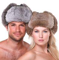 HR007 Yeni erkek/kadın 100% Gerçek Tavşan Kürk Sıcak Şapka/Rus Bombacıları Guard Yanak Şapka kap kış caps