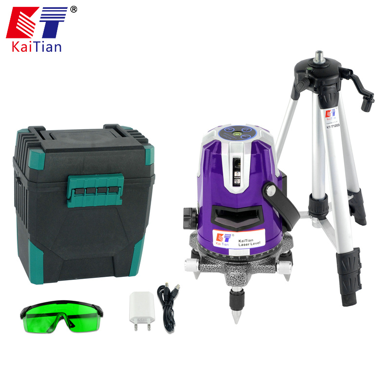 цена на KaiTian Green Laser Level 5 Lines Self-Leveling 360 Rotary Horizontal 532nm Vertical Lasers Beam Tripod Line Lazer Levels Tools