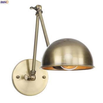 IWHD Loft Style Retro LED Wall Light Fixtures Bathroom Bedroom Industrial Swing Long Arm Wall Lamp Vintage Aplique Luz Pared bedroom light study wall lamp iron long arm rocker wall lamp bedside light industrial style adjustable wall light bathroom