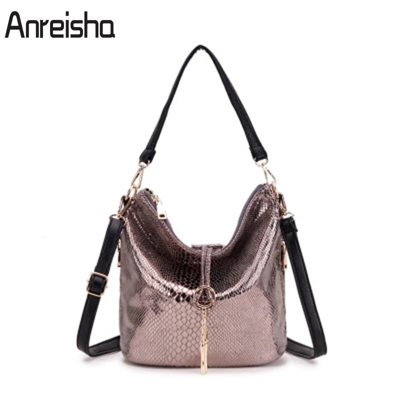 Anreisha Women Fashion Shoulder Bag High Quality Serpentine Leather Handbag For Women Female Newest Office Lady Bucket Handbags yuanyu 2018 new hot free shipping python skin women handbag single shoulder bag inclined female bag serpentine women bag