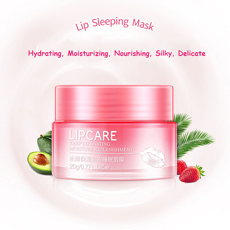BIOAQUA Strawberry Lip Sleeping Mask Exfoliator Lips Balm Moisturizer Nourish Lip Plumper Enhancer Vitamin Skin Care Night Cream