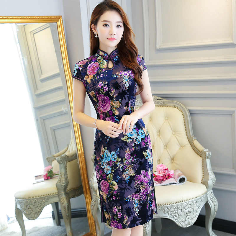 Yeni Çin Geleneksel Kadınlar Qipao Vintage Oryantal Kadın Cheongsam Yenilik Çin Resmi Elbise Boyutu M L XL XXL 3XL 4XL