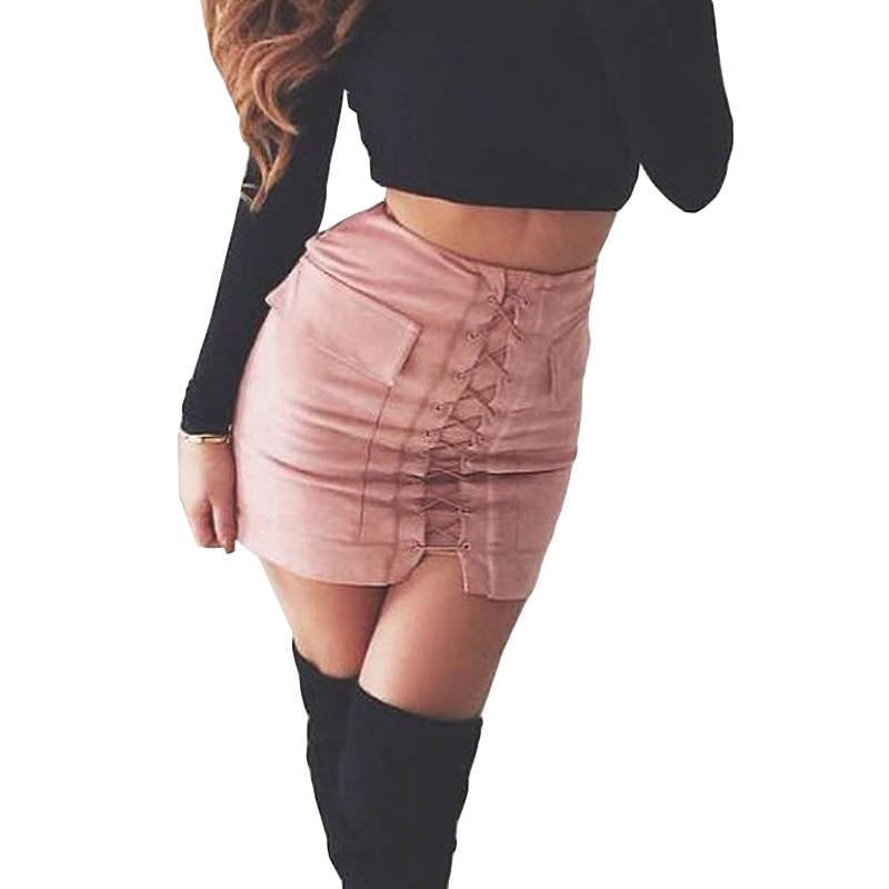 Aliexpress.com : Buy 2017 Fahion Women Autumn Suede Skirt Lace Up ...