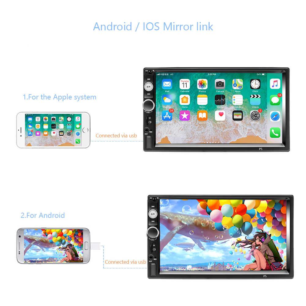 "Hikity Universal 2din Mobil Multimedia MP5 Player 7 ""Layar Sentuh Auto Stereo Radio Kamera Belakang Cermin Link untuk ISO/Android"