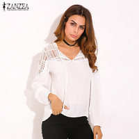 ZANZEA 2016 Ladies Casual Loose Solid Shirts Lace Crochet Sexy V Neck Long Sleeve Floral Blouses