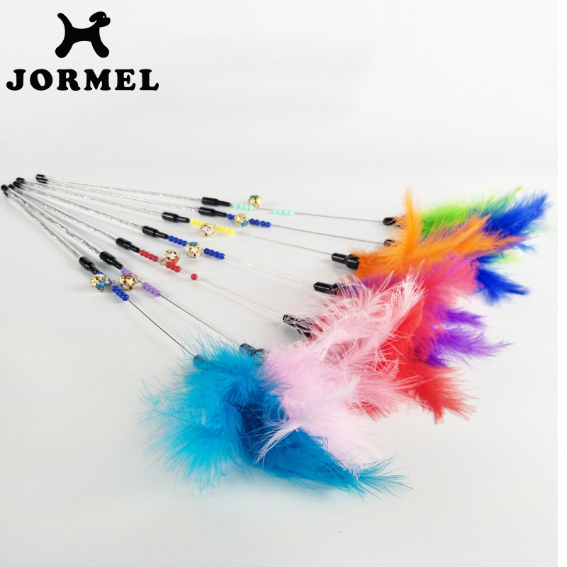 JORMEL 10pcs Pet Cat Toy Cute Design Steel Wire Feather Teaser Wand Plastic Toy for cats Color Multi Products For pet Product(China)