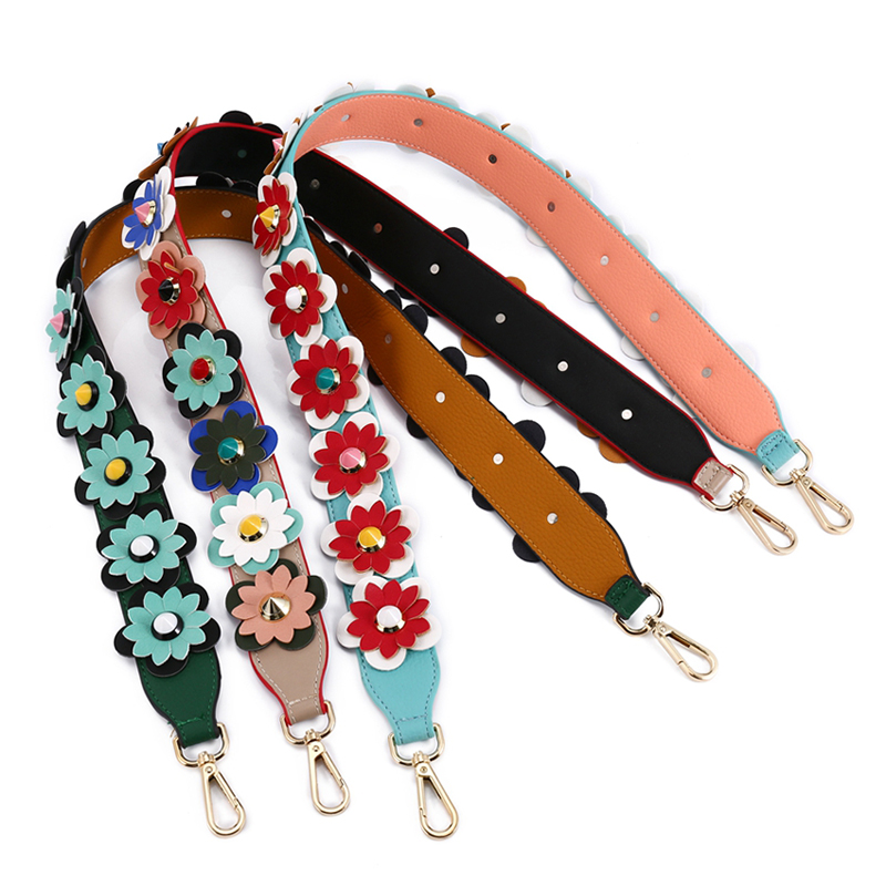 12Colors Luxury Flower Strap For Women Bag Patchwork Leather Shoulder Belt Straps Rivet Replacement Bag Strap Accessoire Sac
